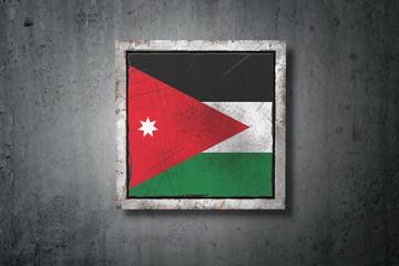 Jordan flag in concrete wall