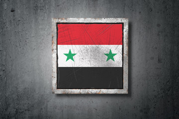 Syria flag in concrete wall