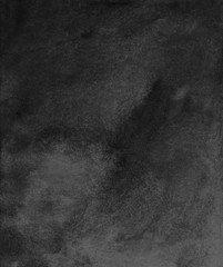Black background. Watercolor monochrome background. Watercolour deep black overlay. Aquarelle stains on textured paper. Calm dark wallpaper. Old wall. Modern abstract art. Gloomy background for cards.