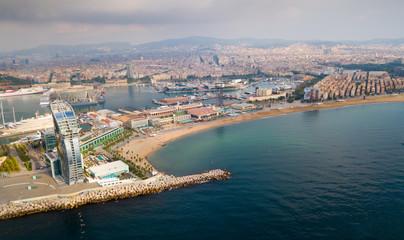 Barceloneta beach with hotel W Barcelona