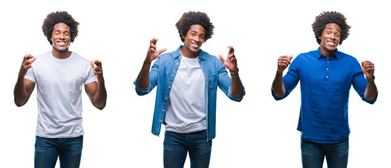 Collage of african american young shirtless man and business man over isolated background smiling crossing fingers with hope and eyes closed. Luck and superstitious concept.