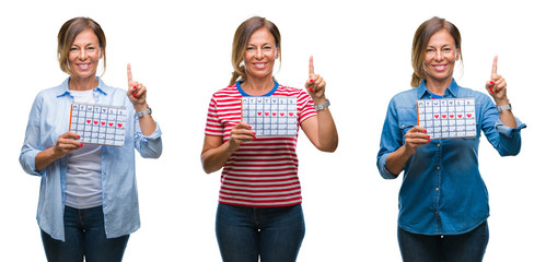 Collage of middle age hispanic woman holding menstruation calendar over isolated background surprised with an idea or question pointing finger with happy face, number one
