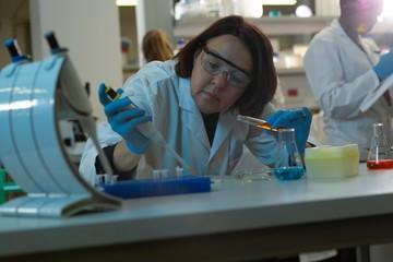 Female scientist using pipette in laboratory