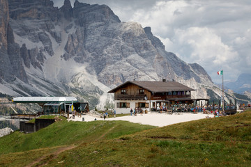 Mountain refuge on the Italian Alps.