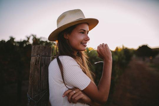 young woman enjoying countryside
