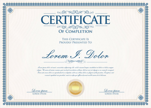 Certificate or diploma retro vintage design template