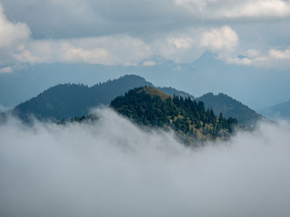Aluminium Prints Blue Mountains peaks in cloudy and foggy environments