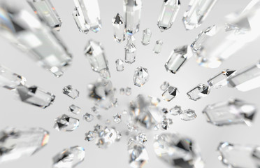 Abstract many Clear Crystal Falling, 3d rendering.
