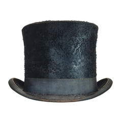 Antique black gentleman hat isolated on white