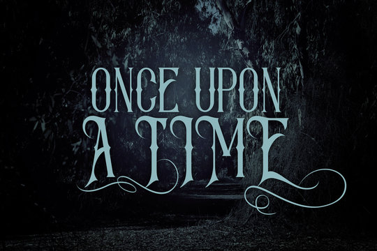 mysterious fairy tale background of dark and haunted forest with text.