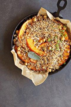 Pumpkin  chick pea crumble with quinoa parmesan crunch