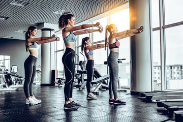 Sporty young women exercising at fitness studio
