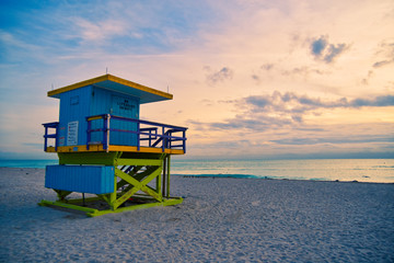 Miami Beach Lifeguard Stand in the Florida sunrise