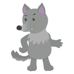 Hand drawn wolf. Natural colors. Collection of vector hand drawn elements. Illustration