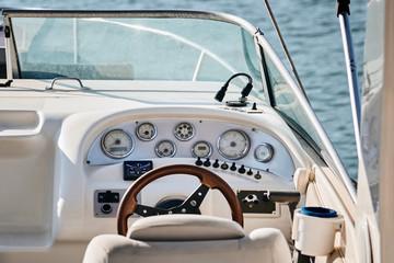 Sailing yacht steering wheel.