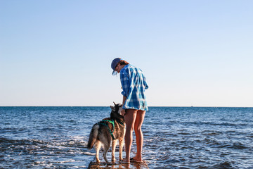 Adriatic sea view.Husky play on sea stones beach. Girl play with dog and him food. Treveling with dog.Croatia