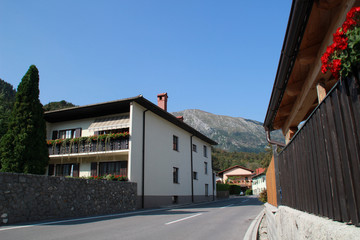Slovenia. Slovenian Alps. Road and mountain views. Walk in Kobarid.