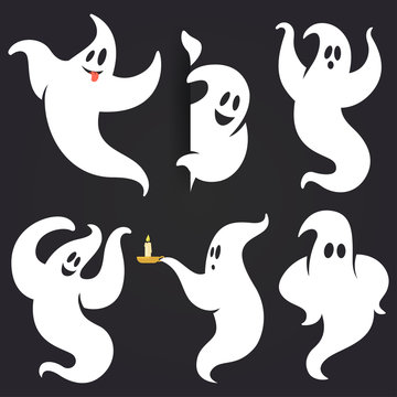 Funny Halloween ghost set in different poses. White flying spooky ghost silhouette isolated on dark background. Traditional festive element for your design. Vector illustration.