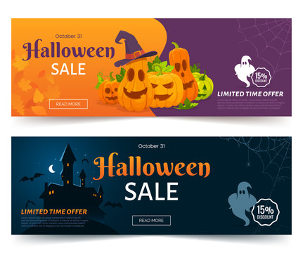 Halloween sale promo web banner. Colorful halloween coupons with spooky pumpkins, castle and ghsots. Festive advertising coupon. Vector illustration.