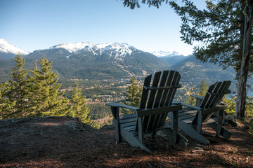 Deckchairs with view of mountains, Whistler, British Columbia, Canada