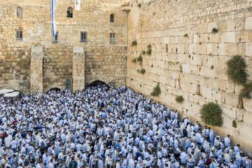 Jews praying at Wailing Wall, Jerusalem, Israel