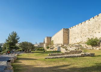 Old City walls along Bonei Yerushalayim Garden, Jerusalem, Israel