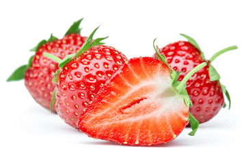 Wall Mural - ripe strawberry fruit isolated on white background