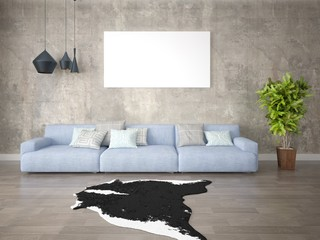Mock up a stylish living room with a fashionable comfortable sofa and modern lamps.