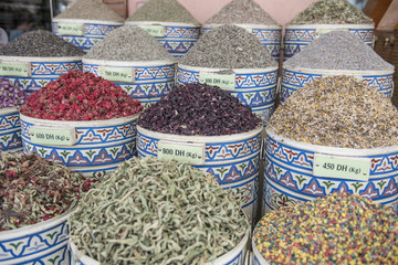 Spices for sale in souks of medina of old city of Marrakesh, Morocco