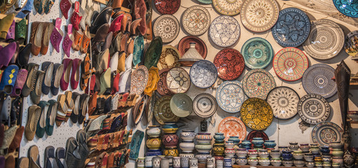 Ceramics and slippers for sale in souk, Marrakesh, Morocco