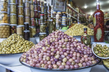 Olives at market stall, Marrakesh, Morocco