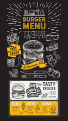 Burger restaurant menu. Food flyer for bar and cafe. Design template with vintage hand-drawn illustrations on black background.