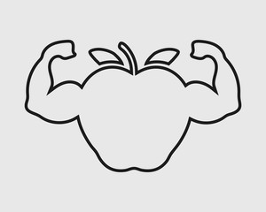 Healthy Food line Icon. Apple with Muscle symbol on Gray Background.