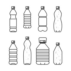 Pure drinking water. Line vector illustration of set of plastic bottles