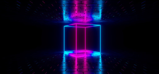 Futuristic Sci-Fi Blue Glowing Neon Tube Circle Shaped Lights In Dark Room With Hexagon Shaped Floor And Ceiling With Empty Space Wallpaper 3D Rendering