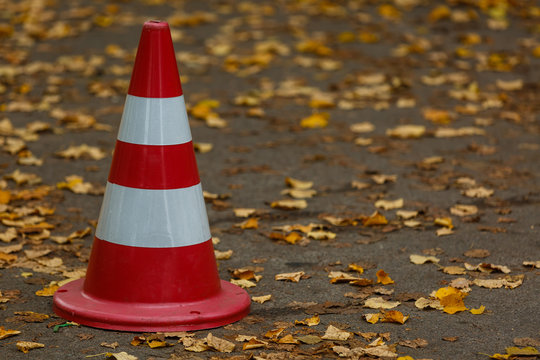 cone on the road autumn