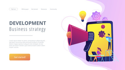 Tablet with loudspeaker and team working on white paper. ICO investment document, startup business strategy, product development plan concept, violet palette. Website landing web page.