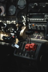 Throttle lever in aircraft cockpit