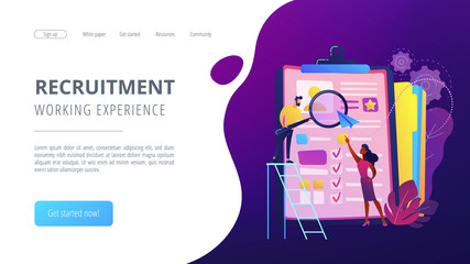 HR managers looking at curriculum vitae of job seeker as a concept of job interview, working experience, recruitment, job application. Violet palette. Website landing web page template.