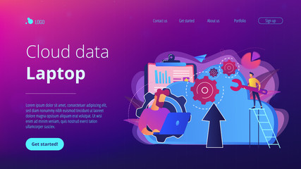 Developer working on laptop with cloud data. Computing applications, developing cloud system, cloud resourses solving business problems concept, violet palette. Website landing web page template.