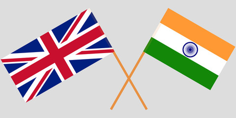 UK and India. British and Indian flags. Official colors. Correct proportion. Vector