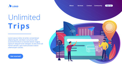 Bus travel card and users. Public transport pass, unlimited or pre-purchased trips, passenger card and transportation, transpot wireless payment concept, violet palette. Website landing web page