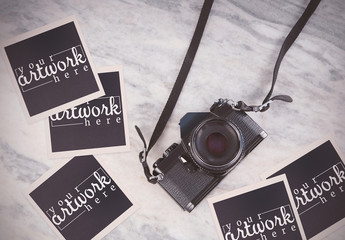 Camera with Instant Film Mockup