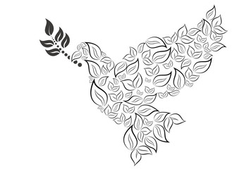 dove with branch. vector international day of peace.bird sketch line art figured outline