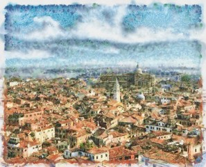 Oil painting. Art print for wall decor. Acrylic artwork. Big size poster. Watercolor drawing. Modern style fine art. Beautiful autumn city landscape. Multicolor view. Historical Europe buildings.