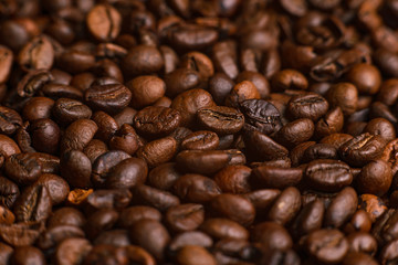 The texture of roasted coffee beans. Macro image