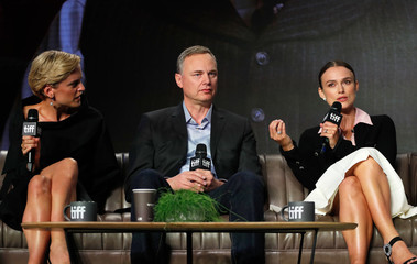 Actor Keira Knightley, director Wash Wetmoreland and Denise Gough speak at a press conference for Colette at the Toronto International Film Festival (TIFF) in Toronto