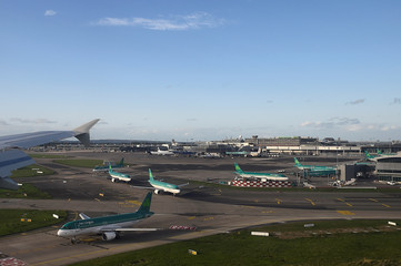 Aer Lingus Airbus A320 aircraft queue up to take off on the runway at Dublin airport in Dublin