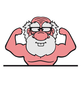 text schreiben rahmen alt opa großvater hornbrille bart bodybuilder stark muskeln training trainieren fitness sexy posen comic cartoon clipart