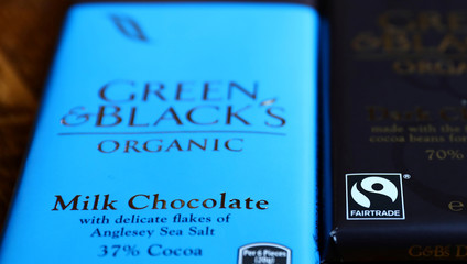 Green and Black's chocolate bars are seen in a photo illustration in London
